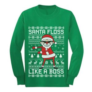 Details about Santa Floss Like a Boss Ugly Christmas Sweater Youth Kids  Long Sleeve T,Shirt