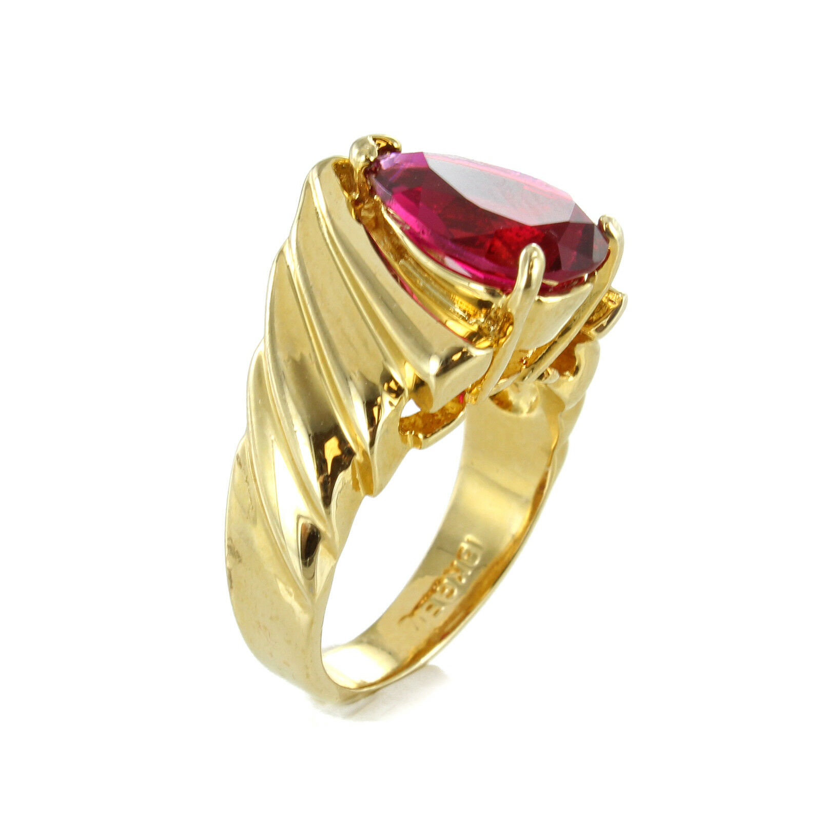 18k gold Electroplated with Simulated Ruby and Cubic Zirconia Ring Size 8