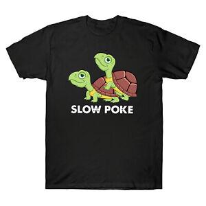 Turtle-Slow-Poke-Drole-Vintage-homme-a-manches-courtes-T-Shirt-Retro-Coton-Tee