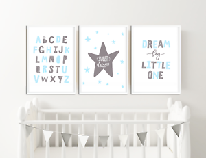 Grey And Blue Nursery Prints Baby Room Decor Pictures For