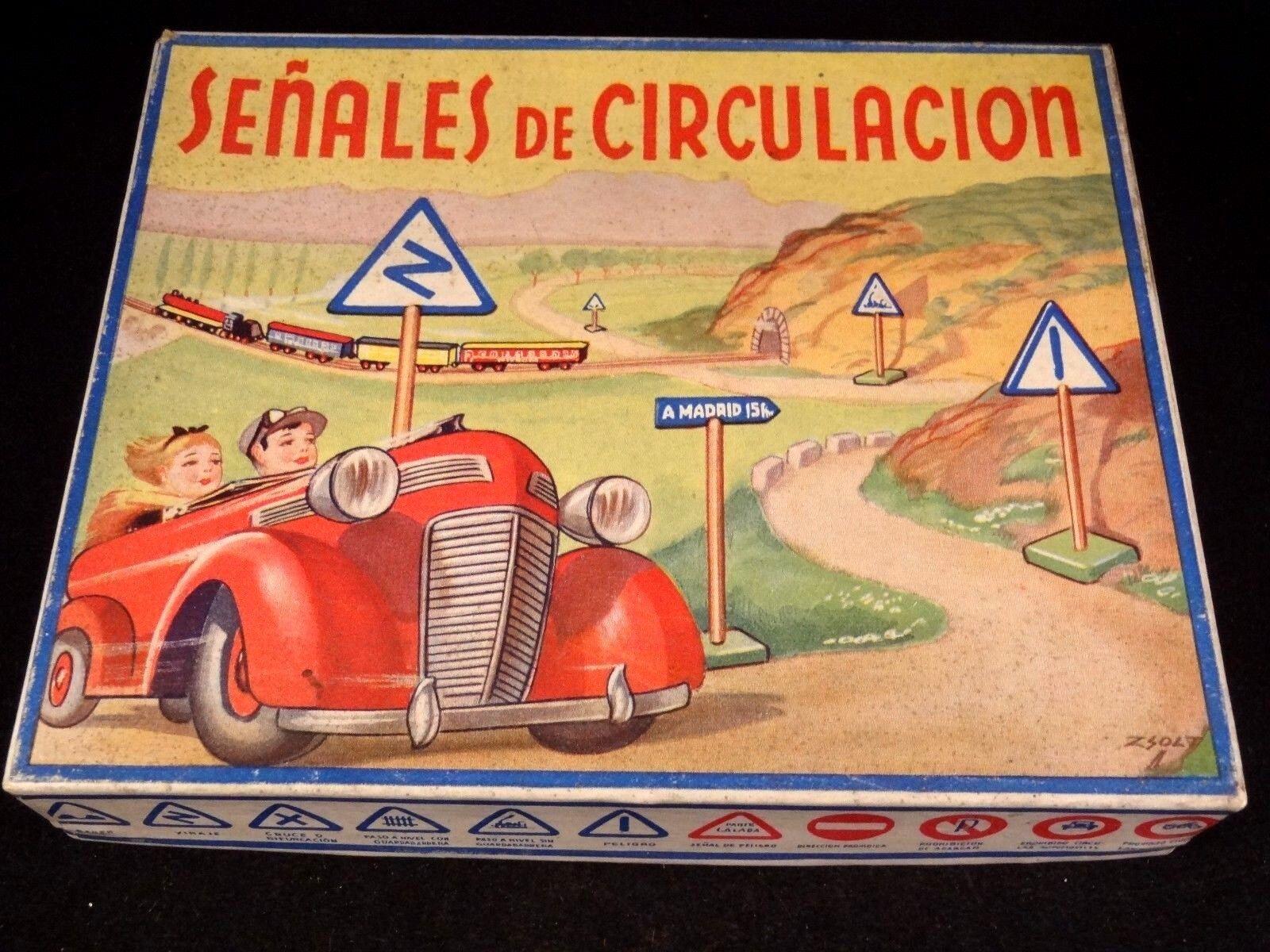 Ancien coffret panneau signalisation bois voiture miniature Madrid 1950 Z SOLT