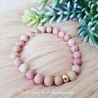 Handmade Natural shades of pink quartz stone boho rose gold ball round bracelet