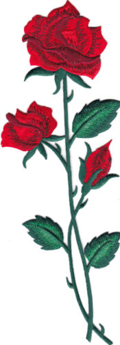 RED ROSE FLOWER EMBROIDERED IRON ON APPLIQUE  PATCH