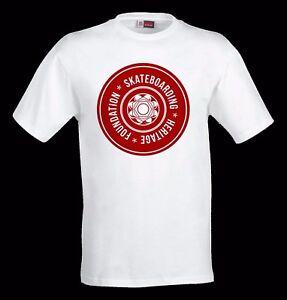 SALE-Skateboarding-Heritage-classic-wheel-logo-T-shirt-white-100-cotton