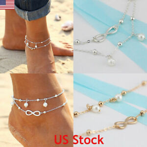 Women-Double-Ankle-Bracelet-925-Silver-Anklet-Foot-Jewelry-Girl-039-s-Beach-Chain-US