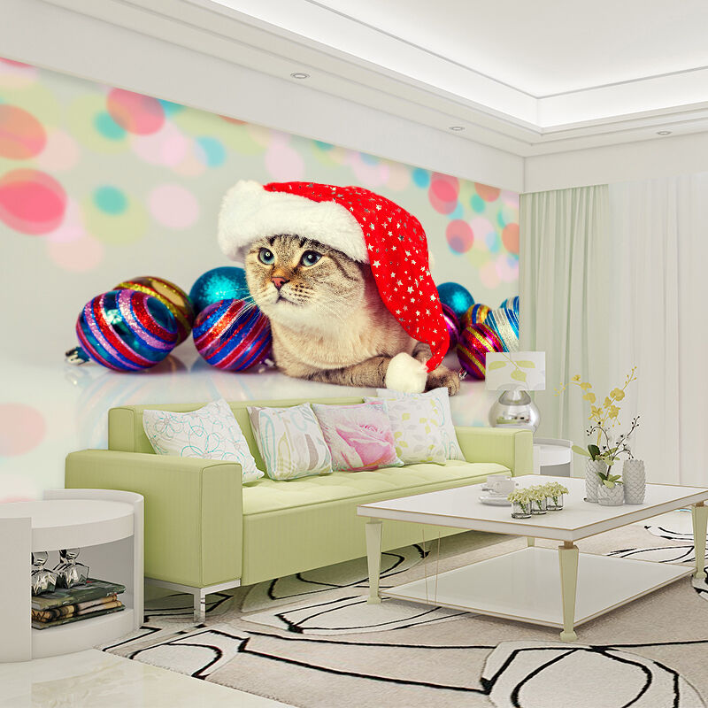 3D Cat And Christmas Hat 761 Wall Paper Wall Print Decal Wall AJ WALLPAPER CA