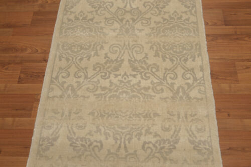3/' x 6/' Hand Knotted Wool Floral Oriental runner Area Rug AOR8518 Beige 3x6