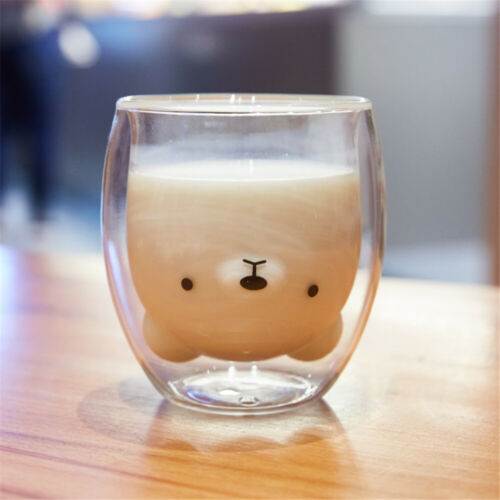 Cute Mugs Double-Wall Insulated Glass Tea Cup Espresso Coffee Cups 8.4oz Clear