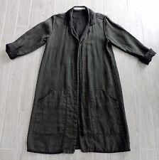 Cynthia Ashby Dark REVERSIBLE Green & Black Linen Lagenlook Art To Wear Coat
