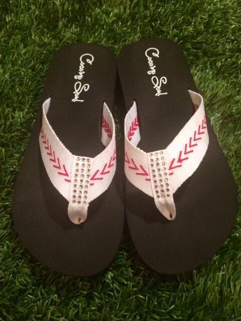 Cocomo Soul Flip Baseball Fabric Stitch FLAT Flip Soul Flops Size 6 7 8 9 10 11 12 NEW e92081