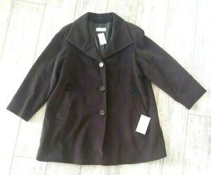 NWT-Cinzia-Rocca-baby-llama-wool-Brown-Swing-coat-alpaca-button-14-Italy-920