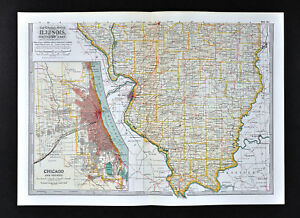Illinois Chicago Map.1902 Century Map South Illinois Chicago Plan St Louis Springfield