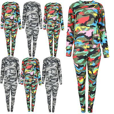 Ladies Womens Multi Colour Army Turtle Neck Top Loungewear Set Tracksuit Uk 8-14 Weder Zu Hart Noch Zu Weich