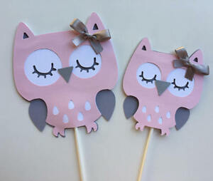 Details About Owl Light Pink And Gray Owl Baby Girl Owl Baby Shower Owl Centerpieces Stick