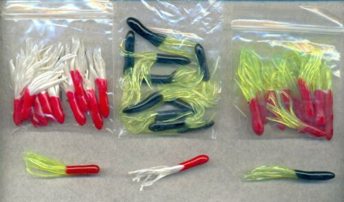 """Black//Chart 2"""" Crappie Tube Jig Skirts ** Red//Pearl 30 Tubes Red Chart."""