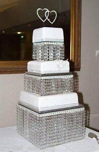 Image Is Loading Crystal Wedding Cake Stand 3 Tier Real Swarovski