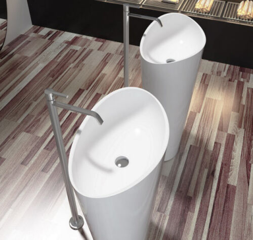 Freistehendes Waschbecken aus Mineralguss PB2175 weiß Solid Stone