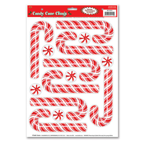 Candy Cane Clings Pack of 12