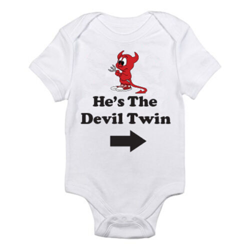 Suit Brother Fun Themed Baby Grow Boy HE/'S THE DEVIL TWIN RIGHT ARROW