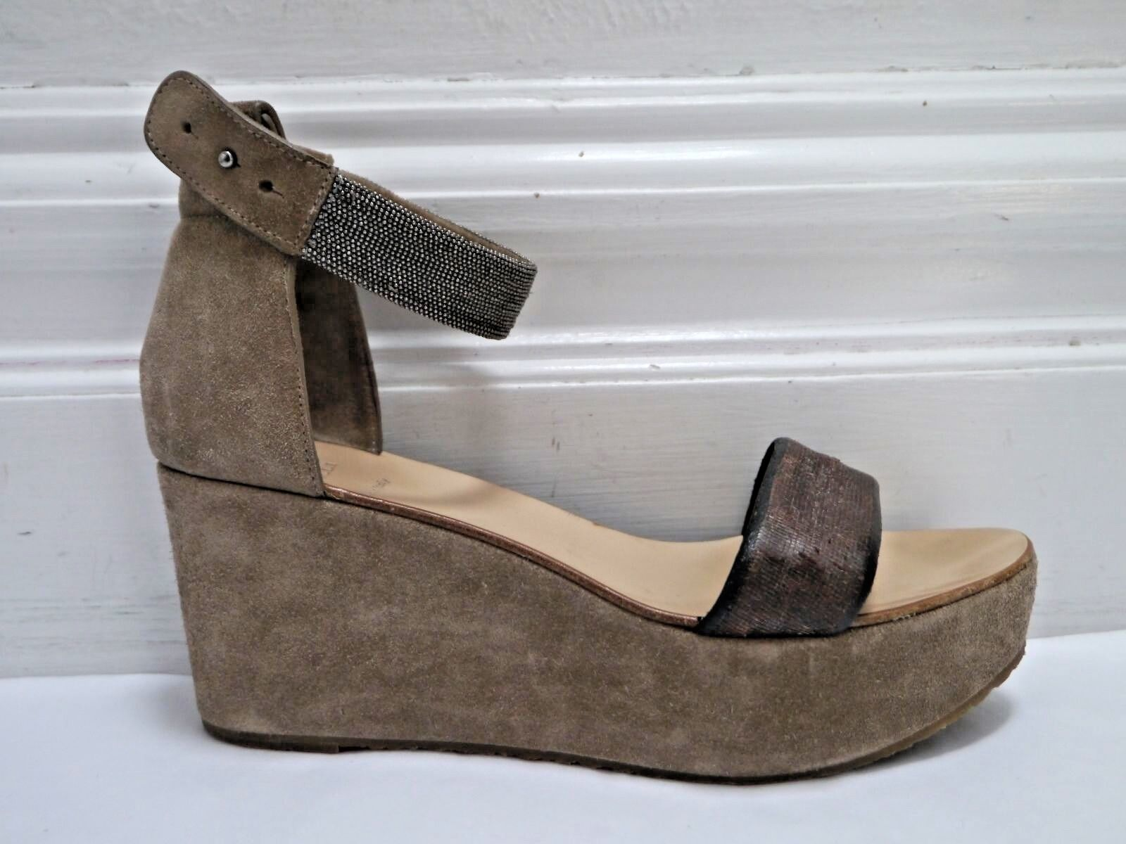 BRUNELLO CUCINELLI beige brown monili bead ankle strap wedge sandals size 39