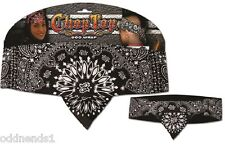 Chop Top: Black Paisley w / Rhinestones Doo Rag Casual Bandanna Head Wrap New