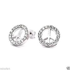 Made With Swarovski Crystal Peace Hippie Love Stud New Earrings Gift