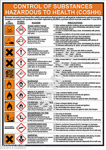 Coshh Health Safety A3 Laminated Poster Workplace Office
