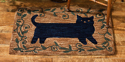 "AREA RUGS -  ""STRETCHING CAT"" HAND HOOKED RUG - 24"" X 36"" - BLACK CAT ACCENT RUG"