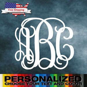 Monogram Custom Vinyl Decal Sticker Wall Car Laptop Phones EBay - Monogrammed custom vinyl decals for car
