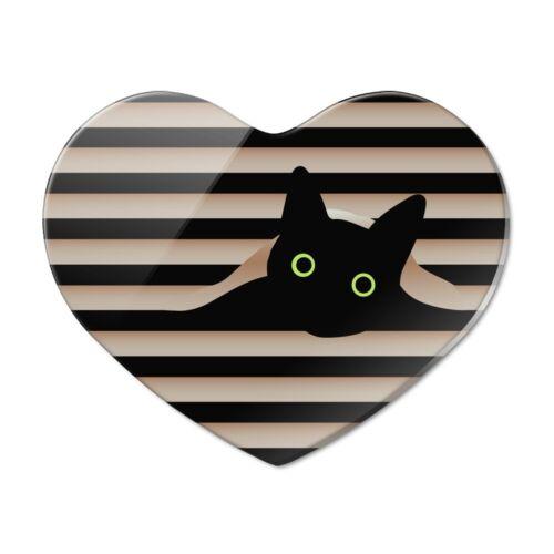 Black Cat In Window Heart Acrylic Fridge Refrigerator Magnet