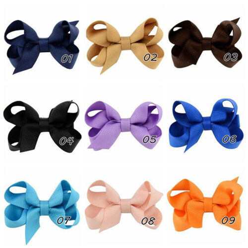 20pcs Baby Big Hair Bows Boutique Girls Alligator Clip Grosgrain Ribbon DSUK