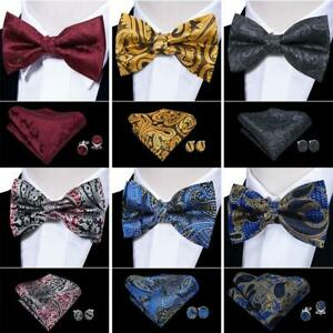 545ec2ead291 UK Men Bow Tie Paisley Black Red Burgundy Blue Bowties Hanky Set ...