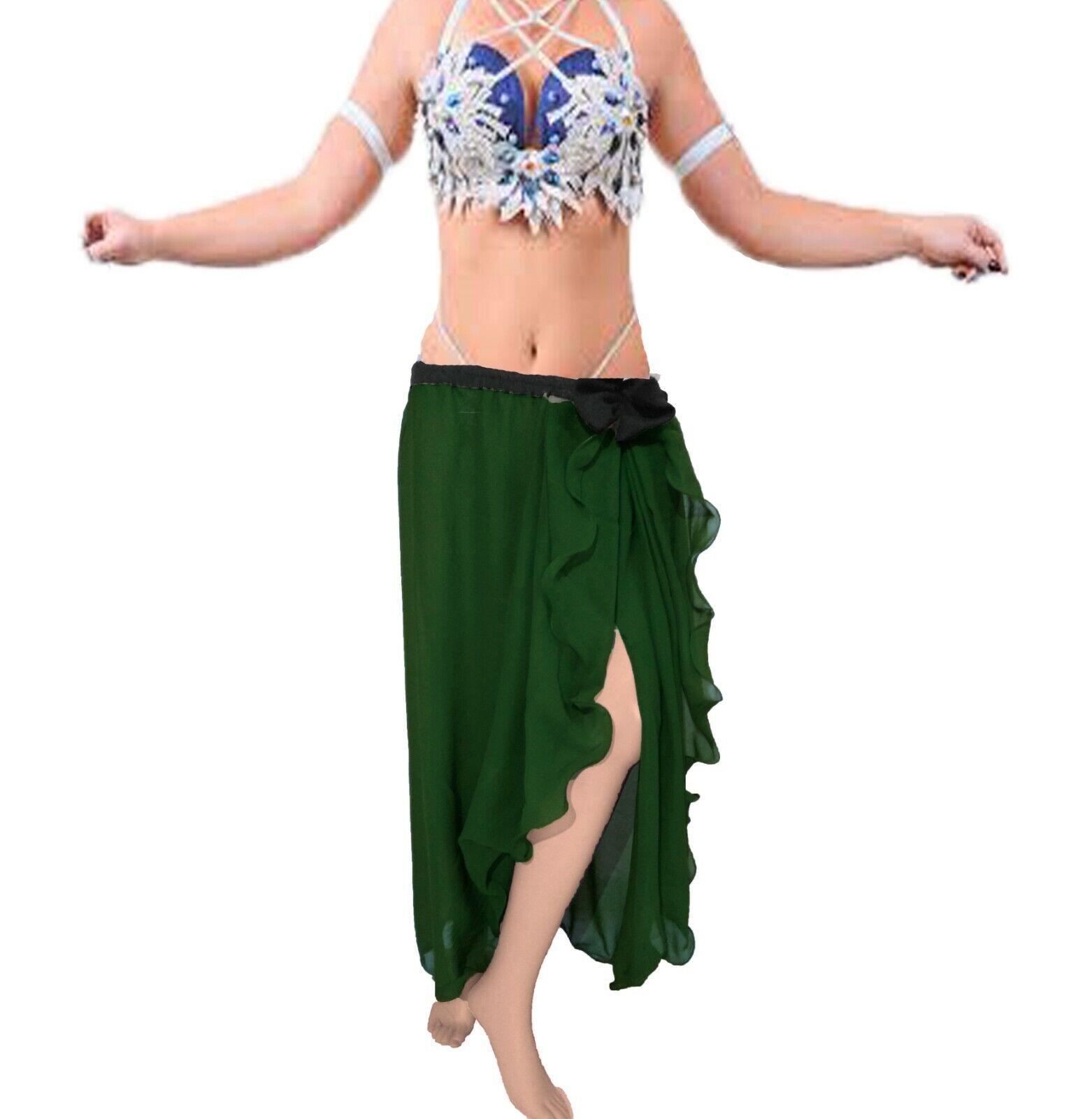 Dark Green Tribal Women Rock Skirt One Side Slit Flair Skirt Belly Dance C16