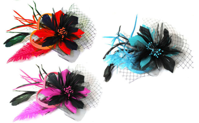 CLIP Flower Fascinator Headband Wedding Hair Accessories Races Event Royal Ascot