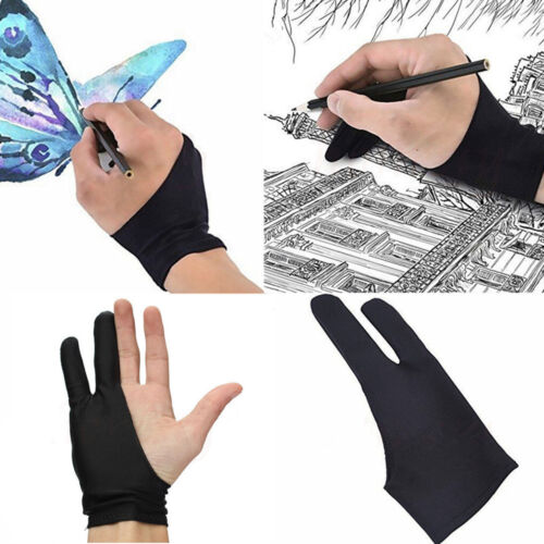 2 Finger Anti-fouling Glove Drawing /& Pen Graphic Tablet Pad For Artist Black US