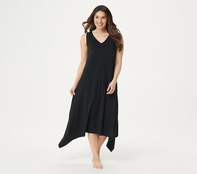 AnyBody Petite Cozy Knit Sharkbite Hem Dress Smokey Taupe PM NEW A354738