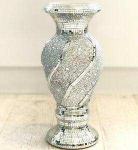 Beautiful Mosaic Vase Diamond Silver Crystal Decorative Mirror Flower Luxury NEW