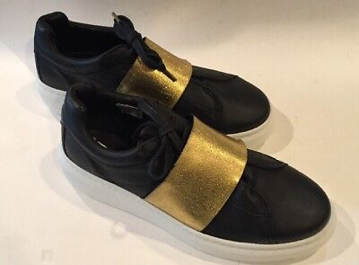 Womens Topshop Turin Black and Gold Metallic Elastic Trainer Sneakers Size 10.5 | eBay