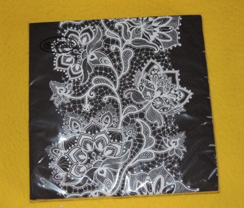 1 boîte 20 Serviettes Noir Blanc Lace motif fleurs d/'ornement Black White