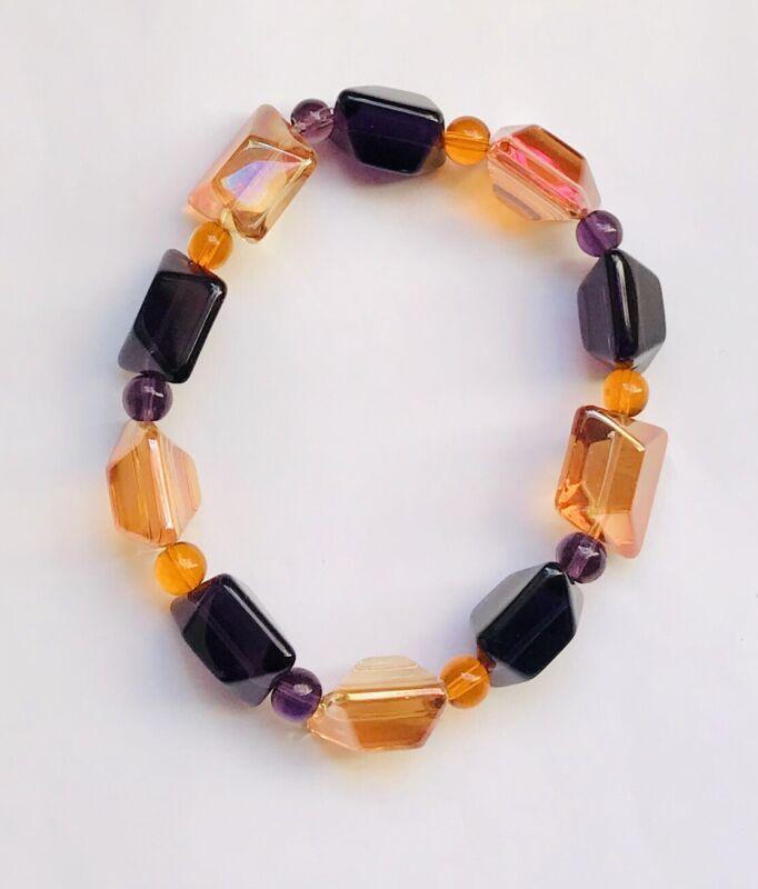 Stunning Orange & Purple Chunky Glass Bracelet