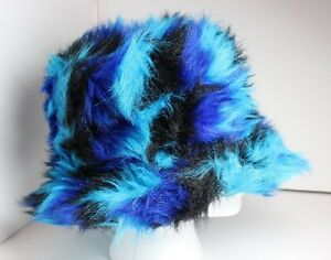 4b7028e2646 Image is loading MULTI-COLOR-HIPSTER-BLUE-FAUX-FUR-HAT-SIZE-