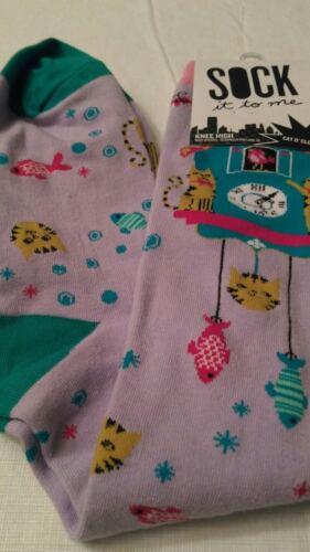 womens purple knee socks catfish clocks new with tags cotton blend