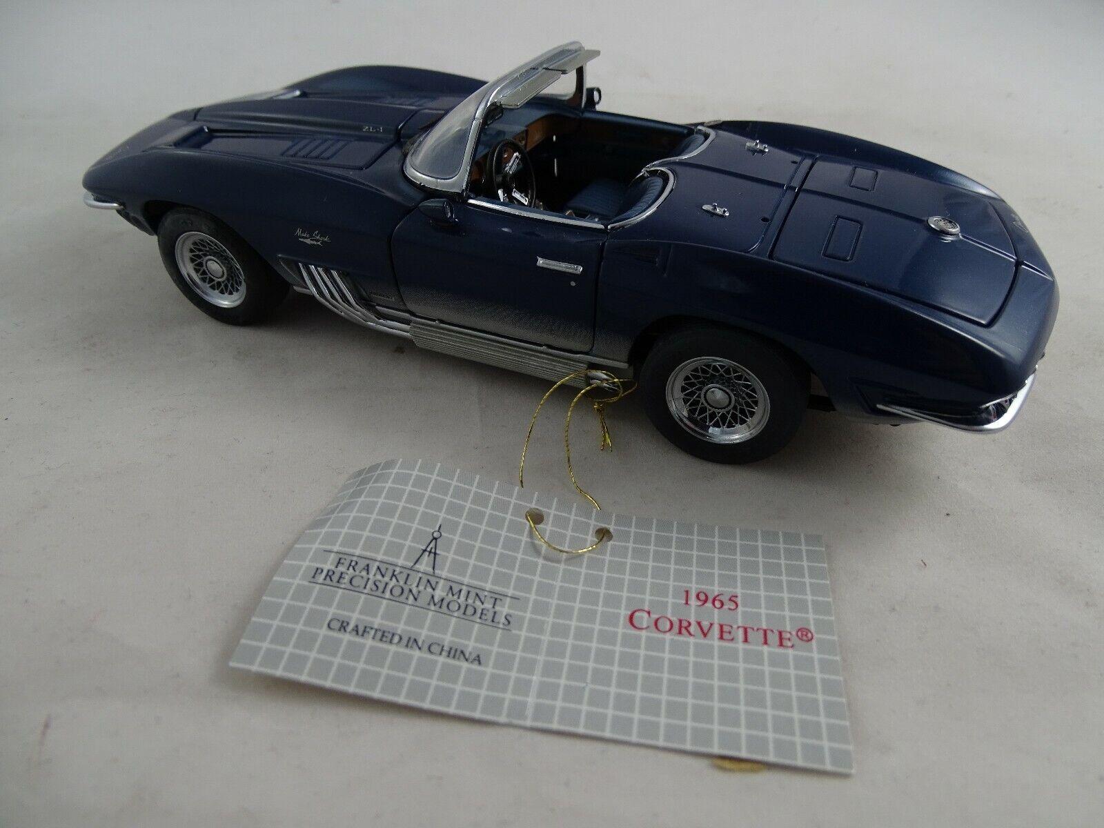 1 24 Franklin Mint 1965 Chevrolet Corvette Blu Rarità in Confezione