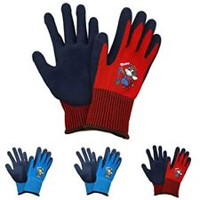 Kids Work Gloves 4 Pairs Polyester Seemless Knitted With Latex Sandy Finish