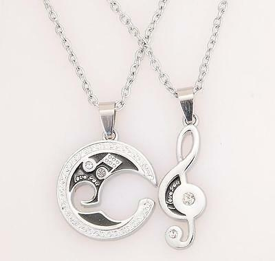 BA Silver Chain Stainless Steel Couple Matching Music Note Pendant Necklace Set