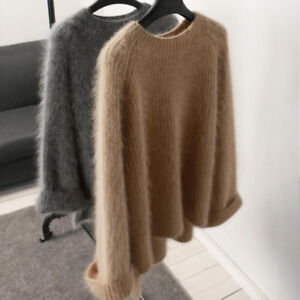 Women-Cashmere-Mink-fur-Pullover-Sweater-Warm-Stretch-Loose-Tops-Coat-Jacket