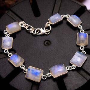 Natural-Rainbow-Moonstone-Gemstone-925-Sterling-Silver-Handmade-Bracelet-7-25-034