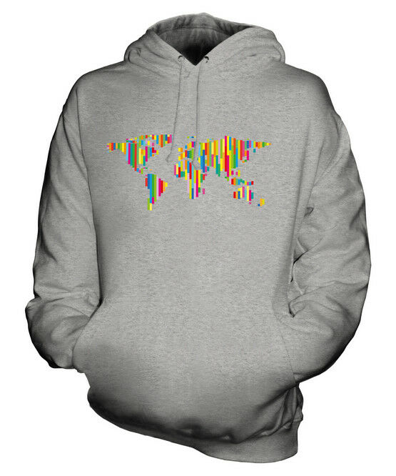 COLOURFUL WORLD MAP UNISEX HOODIE TOP GIFT PATTERN COLOURFUL