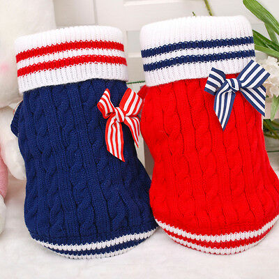 Pet Dog Cat Sweater Navy Style Clothes Winter Warm Cozy Cute Apparels Sweaters