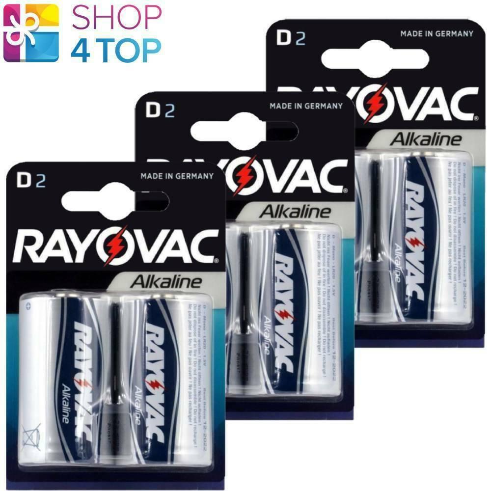 6 Rayovac D Alkaline lr20 blister 1.5v Batteries mn1300 am1 torsia Mono NEW